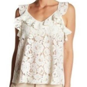 NWOT Ro & De Small Lace Tank Top Ruffle White